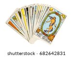 Small photo of Deck of Tarot cards on white background ; THE WORLD..