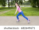 pretty young and slim woman on... | Shutterstock . vector #682649671