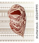 nomad with ornamental headscarf ... | Shutterstock .eps vector #682649995