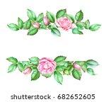 watercolor hand drawn green...   Shutterstock . vector #682652605
