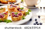phyllo cups with mascarpone... | Shutterstock . vector #682655914