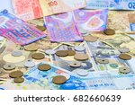 banknote and coins background... | Shutterstock . vector #682660639
