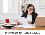 paperwork. smiling business... | Shutterstock . vector #682662379
