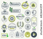 Set of labels and stickers for organic food and drink, and natural products. Vector illustration concepts for web design, packaging design, promotional material. | Shutterstock vector #682664359