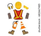 vector safety equipment. | Shutterstock .eps vector #682667485