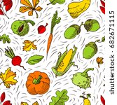 autumn seamless pattern. fall... | Shutterstock .eps vector #682671115