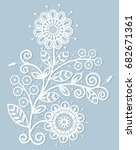 white lace floral element on... | Shutterstock .eps vector #682671361