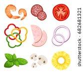realistic pizza ingredients ... | Shutterstock .eps vector #682681321