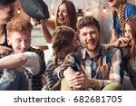 group of four friends laughing... | Shutterstock . vector #682681705