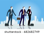 group of young businessmen in... | Shutterstock .eps vector #682682749