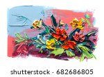 oil painting a bouquet of... | Shutterstock . vector #682686805