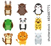 cute animals. children style ... | Shutterstock .eps vector #682687771