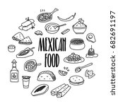 mexican traditional food hand... | Shutterstock .eps vector #682691197