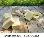 home made soap. three piles of... | Shutterstock . vector #682700365
