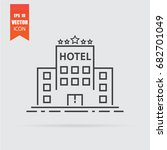 hotel icon in flat style... | Shutterstock .eps vector #682701049