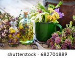 enameled mug of healing herbs ...   Shutterstock . vector #682701889
