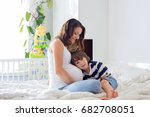 young beautiful pregnant woman... | Shutterstock . vector #682708051
