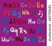 hand drawn alphabet. brush... | Shutterstock .eps vector #682708681