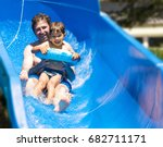 four years old boy with daddy... | Shutterstock . vector #682711171
