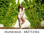 young beautiful relaxed woman... | Shutterstock . vector #682711561