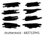 set of black paint  ink brush... | Shutterstock .eps vector #682712941