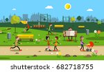 people in city park. vector. | Shutterstock .eps vector #682718755
