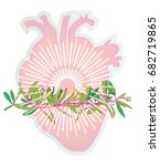 pink heart with green branch.... | Shutterstock .eps vector #682719865