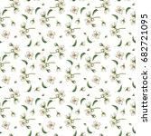 botanical watercolor seamless... | Shutterstock . vector #682721095