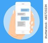 mobile phone messages vector...   Shutterstock .eps vector #682723234