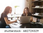 young women learning and... | Shutterstock . vector #682724329