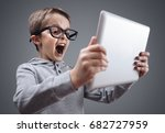 shocked and surprised boy on... | Shutterstock . vector #682727959