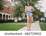 young model brunette walks the... | Shutterstock . vector #682729831