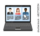 laptop with hr candidates list. ...   Shutterstock .eps vector #682730554