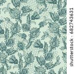 seamless green vector floral... | Shutterstock .eps vector #682743631