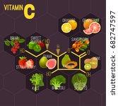 high vitamin c foods. healthy... | Shutterstock .eps vector #682747597