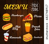 fast food menu  vector... | Shutterstock .eps vector #682748917