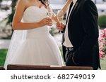 gorgeous wedding couple enjoys... | Shutterstock . vector #682749019