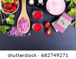 spa supplies  candles and... | Shutterstock . vector #682749271