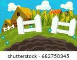 cartoon farm scene   background ... | Shutterstock . vector #682750345