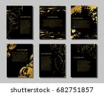 set of black and gold flyers.... | Shutterstock .eps vector #682751857
