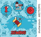 sewing flat concept icons.... | Shutterstock . vector #682752991