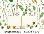 open notebook with blank space... | Shutterstock . vector #682754179