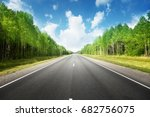 road in summer forest | Shutterstock . vector #682756075