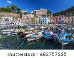 small fishing boats at harbor... | Shutterstock . vector #682757335
