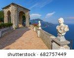 stone statues on sunny terrace... | Shutterstock . vector #682757449