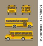 school bus flat illustration.... | Shutterstock .eps vector #682758901