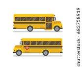 two school bus side views flat... | Shutterstock .eps vector #682758919