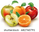 whole and cut apple and orange...   Shutterstock .eps vector #682760791