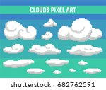 set of pixel clouds on blue... | Shutterstock .eps vector #682762591