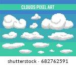 set of pixel clouds on blue... | Shutterstock .eps vector #682762591